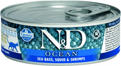 N&D Ocean Cat Wet Sea Bass & Squid & Shrimps
